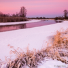 Roosa talvehommik jõe ääres / Pink Winter Morning by the Rive